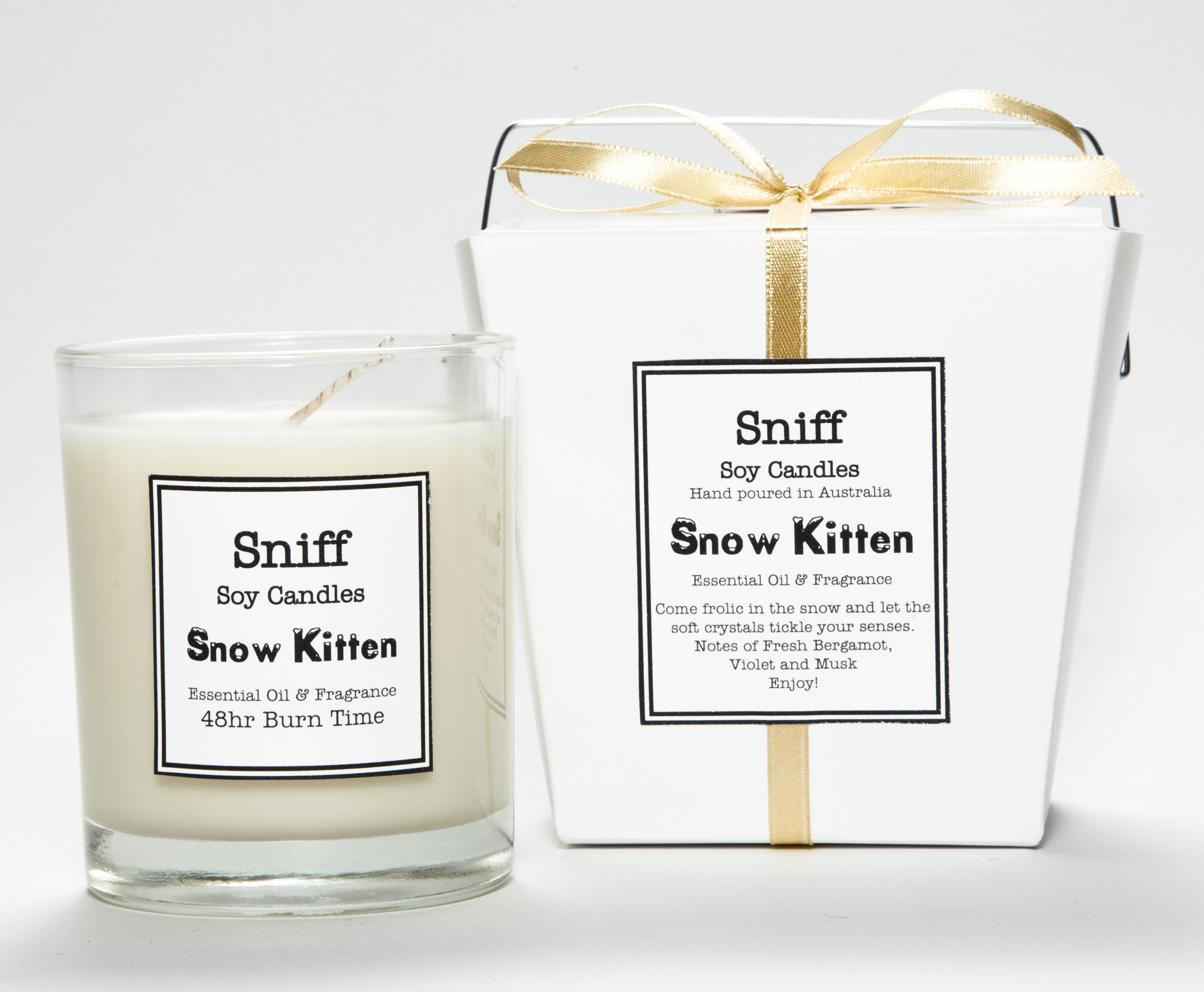 snow kitten candle
